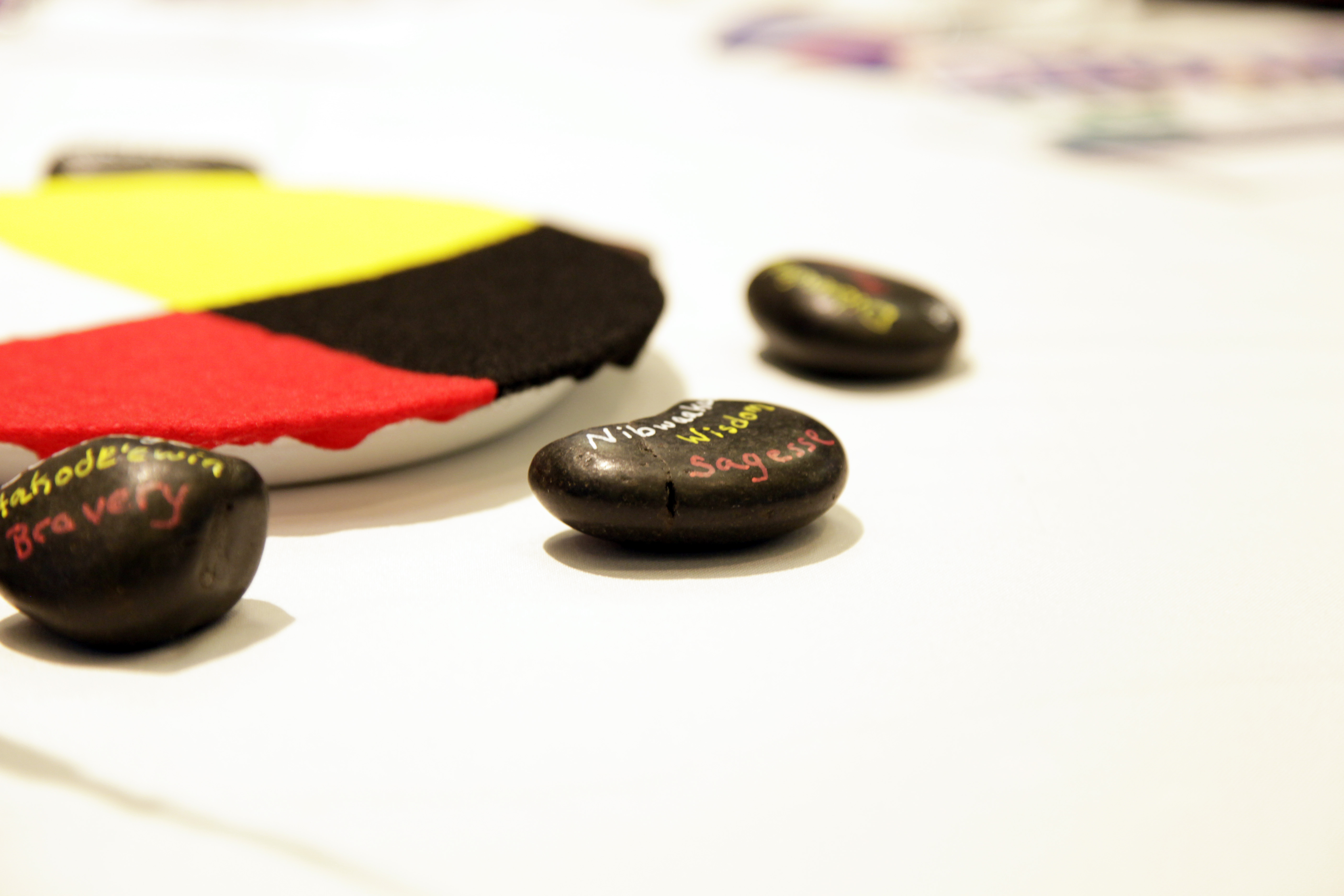 painted stones with words on a table